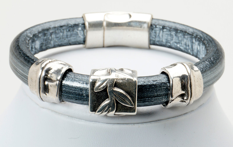 #17618B<br>Pewter bamboo<br>On metallic silver leather.<br>Magnetic clasp.<br> Size small- other sizes available.<br>$95.00