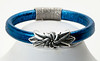 #22815B<br>Pewter flower<br>On metallic blue leather.<br> Magnetic clasp.<br> Available in small, small/medium and medium.<br>$95.00