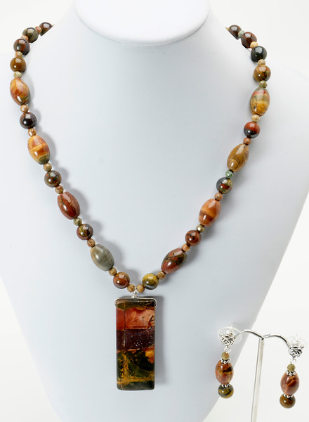 "#20619<br>Red Creek jasper on<br>Ironite and Red Creek jasper.<br>Silver plated clasp and 4"" extender chain.<br>18"" to 20"" Limited Edition. <br>Necklace $115.00  Earrings $29.00"