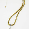 """#21519<br>Shell pearl and pewter drop<br>On sage green pearls<br>Silver plated clasp and 4"""" extender chain.<br>32"""" to 36"""" Limited Edition.<br>$95.00"""