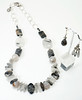 "#20417 <br>Tourmaline quartz, picasso jasper, and fire agate. <br>Extra large pewter clasp and silver plated chain. <br>Necklace 26"" or less. One-of-a-kind. $175.00 <br>Fire agate earrings with silver plated French clips on left  $29.00<br> Faceted tourmaline quartz earrings with sterling silver ear wires on right $36.00."