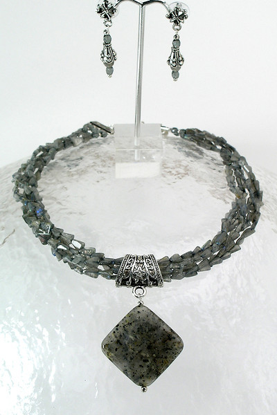"#30012 <br>Sesame agate and pewter drop on five strands of labradorite. <br>Silver plated clasp and 4"" extender chain.<br> Alice Bailey Designs signature tag.<br> Limited Edition. Necklace 16 1/2""  to 20 1/2""  $225.00<br>Earrings with pewter and surgical steel posts $37.00"