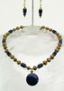 "#13912<br> Lapis drop on bronze pearls, lapis and bronze.<br>Gold plated clasp and 4"" extender chain. <br>Alice Bailey Designs signature tag.<br>Necklace 16""to 20""  Limited Edition $75.00<br> Earrings with gold plated French clips $26.00"