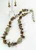 "#22213 <br>Faceted citrine, lamp glass, biwa pearls and bronze.<br> Extra large brass lobster clasp and 6"" extender chain.  <br> Alice Bailey Designs signature tag.<br>Necklace 26"" to 30"" Limited Edition $150.00<br>Earrings with gold plated French clips $26.00"