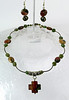 "#29212 <br>Imperial jasper cross on jade,<br> imperial jasper and antiqued bronze.<br> Bronze clasp and 4"" extender chain. <br>Alice Bailey Designs signature tag.<br>Necklace16"" to 20"" Limited Edition $69.00<br>Earrings with gold plated ear wires $25.00"