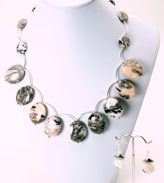"""#13219<br>Pink Zebra agate<br>And silver plated tubes.<br>Silver plated clasp and 4"""" extender chain.<br>18"""" to 22"""" Limited Edition.<br>Necklace $135.00<br>Earrings $27.00"""