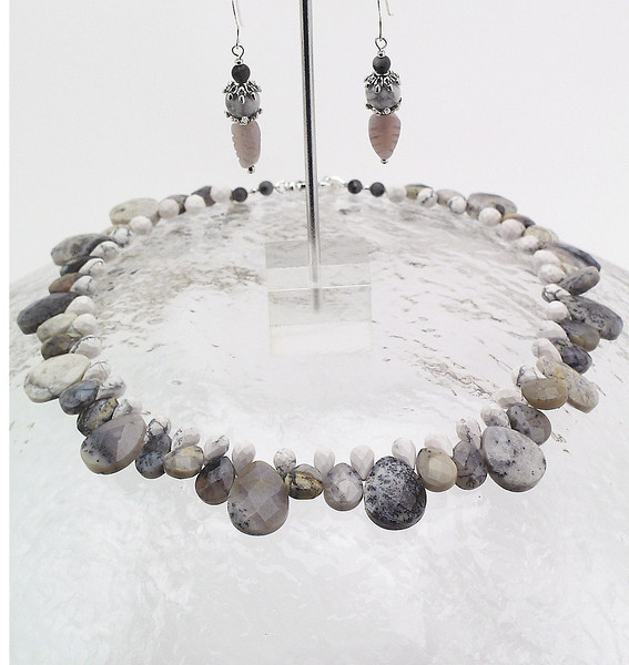 "#10711 <br>Lace agate and white magnesite briolettes. <br>Silver clasp and 4"" extender chain.<br>Alice Bailey Designs signature tag. <br>Necklace 16"" to 20"" Limited Edition $175.00<br>Earring with sterling silver ear wires $26.00"