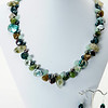 """#21219<br>Moss agate, Keishi pearls, jade, <br>Prehinite quartz, labradorite and green aventurine.<br>Silver plated Clasp and 4"""" extender chain.<br>17"""" to 21"""" Limited Edition.<br>Necklace $175.00 Earrings $29.00"""
