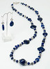 "#11117 <br>Lapis and pewter with magnetic clasp.<br> Wear at 36"" or doubled at 18"" Limited Edition.<br>Necklace $150.00<br>Earrings with silver plated French clips $30.00"