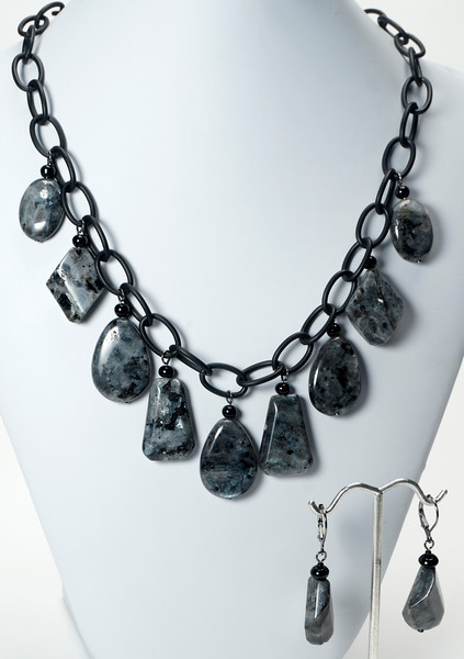 "#14120<br>Labradorite and crystal<br>On Nite black chain.<br>clasp and 4"" extender chain.<br>Necklace $95.00<br>Earrings $28.00"