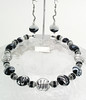 "#19612 <br>Black, white &amp; silver lamp glass, crystal and pewter. <br> Silver plated clasp and 4"" extender chain.<br>Alice Bailey Designs signature tag.<br>Necklace 16.5 "" to 20"" Limited Edition $95.00<br>Earrings not available."