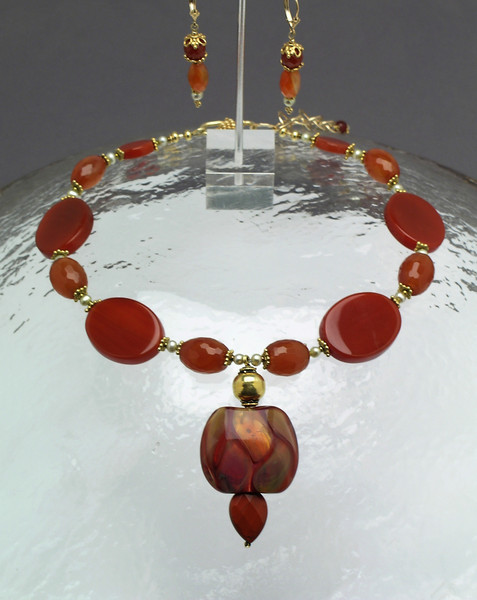 "#12709 <br>One-of-=a-kind art glass, drop <br>vermeil gold, carnelian, jasper,and pearls.<br>Vermeil gold clasp and 4"" extender chain.<br>.Alice Bailey Designs signature tag.<br>Necklace 16"" to 20"" One-of-a-kind $335.00<br>Earrings with gold fill French clips $75.00"
