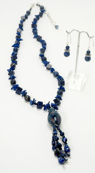 "#10320<br>Art glass, lapis and crystal.<br>Silver plated clasp <br>And 4"" extender chain. <br>30"" to 34"".One-of-a-kind.<br> Necklace $325.00<br>Earrings $40.00"