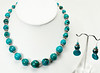 "#12418<br>Graduated turquoise and pewter.<br>Silver plated clasp and 4"" extender chain.<br>17.5"" to 21.5"" Limited Edition. <br>Necklace $95.00<br>Earrings with silver ear wires $29.00"