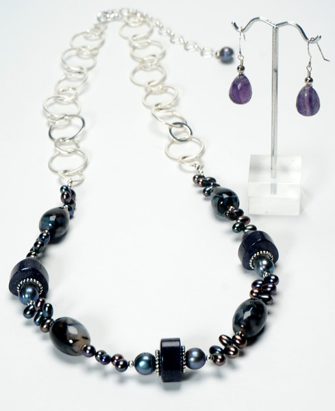 "#13920<br>Spider agate, pearls<br>And color-treated jade. <br>Silver plated chain, clasp and 4"" extender chain.<br>29.5"" to 33"" Limited Edition.<br>Necklace $125.00<br>Earrings $30.00"