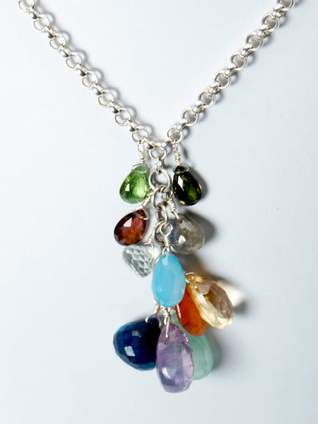 "#14419<br>Citrine, labradorite, amethyst, carnelian, <br>Green amethyst, tourmaline, peridot and chalcedony<br>On silver plated clasp and chain.<br>18"" or less. Limited Edition.<br>$195.00"