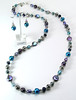 "#14914 <br>Color-treated pearls, silver plated resin beads and pewter. <br>Magnetic clasp. <br>Alice Bailey Designs signature tag.  Limited Edition.<br>Wear necklace at 36"" or doubled at 18"" $125.00<br> Earring with sterling silver ear wires $28.00"