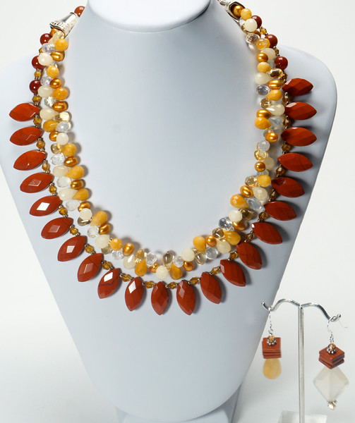 """#22218<br>Faceted red jasper,<br>Pineapple quartz, red aventurine, <br>Pearls and crystal.<br>Silver plated clasp<br>And 4"""" extender chain.<br>18"""" to 21"""" Limited Edition.<br>Necklace $195.00<br>Earrings """"A"""" on left $30.00<br>Earrings """"B"""" on right $32.00"""
