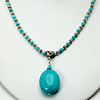 "#22518<br>Magnesite turquoise drop <br>On faceted turquoise and pewter.<br>Silver plated clasp and 4"" extender chain.<br>16"" to 20"" Limited Edition.<br>Necklace $75.00"