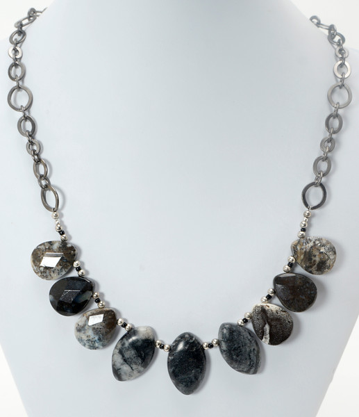 "#11520<br>Jasper briolettes<br>Gunmetal chain, clasp <br>And 4"" extender chain. <br>18"" to 22"" Limited Edition.<br>$75.00"