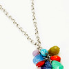 "#14519<br>Jade, jasper, sodalite and amethyst grape-cluster<br>On steel chain.<br>34"" limited Edition.<br>$95.00"