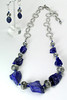 "#14312 <br>Chunky lapis and pewter<br> with silver plate clasp and 8"" extender chain. <br>Alice Bailey Designs signature tag. <br>Necklace 16"" to 24"" Limited Edition.$175.00 <br>Earrings NOT available."
