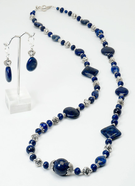 """#11117 <br>Lapis and pewter with magnetic clasp.<br> Wear at 36"""" or doubled at 18"""" Limited Edition.<br>Necklace $150.00<br>Earrings with silver plated French clips $30.00"""