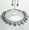 "#21713 <br>Dark Montana crystal large briolettes <br>with gunmetal  clasp and 4"" extender chain.<br>Alice Bailey Designs signature tag.<br> Limited Edition. Necklace  17"" to 21"" $125.00<br>  Earrings with gunmetal French clips $32.00"