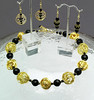 "#15408 <br>lack onyx &amp; agate, bronze, gold plated wire beads. <br>Gold plated clasp and 4"" extender chain.<br>Alice Bailey Designs signature tag. <br>Necklace 16"" to 20"" Limited Edition $95.00<br>Earrings with gold plated ear wires $30.00"