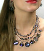 "#14114 <br>Smoke/orchid/blue crystal, Czech glass and pewter. <br>ABD end bars, silver plated clasp and 4"" extender chain. <br>Alice Bailey Designs signature tag. <br>Necklace 16.5"" to 20.5"" Limited Edition $195.00<br>Earrings with pewter and surgical steel posts $45.00"