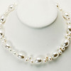 """#18419<br>White pearl and shell pearl.<br>Silver plated clasp and 4"""" extender chain.<br>18"""" to 22"""" Limited Edition.<br>$125.00"""