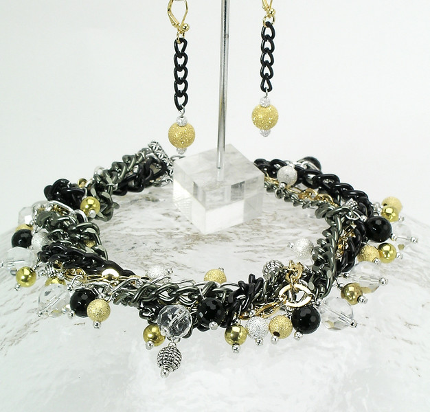 "#15211 <br>Five strands mixed metals chain, gold & and silver plated stardust beads,<br> bronze, crystal, black onyx  and pewter.<br> Alice Bailey Designs signature tag.<br> Necklace 18"" to 22"" Limited Edition $150.00<br>Earrings with gold plated French clips $26.00"