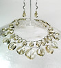 "#15514 <br>Two strand Colorada crystal briolettes <br>with silver plated tubes, clasp and 4"" extender chain.<br> Alice Bailey Designs signature tag. <br>Necklace 16"" to 20"" Limited Edition $175.00<br>Earrings with pewter curved bars and silver plated French clips $27.00"