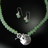 Necklace BFD NSLTGC Sand Dollar as Toggle with Green Crystals and Matching Earrings BFD ESSGC