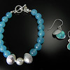 Bracelet BFD BC2PAC Two Small Clamshells with Pearl on Aqua Chalcedony and Matching Earrings BFD EC2AC