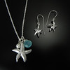 BFD PSTL!AC Large Starfish Pendant with Aqua Chalcedony and BFD ESTM Medium Starfish Earrings on French Wir
