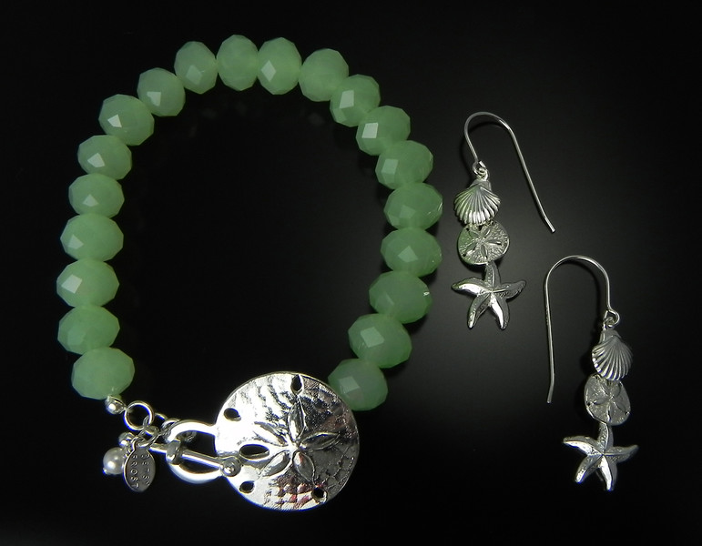 Bracelet BFD BSLTGC Large Sand Dollar as Toggle Bracelet with Green Crystals and Earring BFD E3S Small Scallop, Starfish, and Sand Dollar