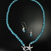 Necklace BFD NSTLTAA Large Starfish as Toggle with Aqua Agate and Matching Earrings BFD ESTMAC