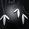 BRDC P1078SH & E1078BSH Panda leaf necklace and earrings with shadow finish