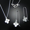 BRDC P875CZ & E875SWCZ Small circle flower pendant on small chain with set CZ & small circle flower earrings on sweet wires with set CZ