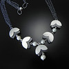 BRDC N10155TWPO Five double petal necklace on triple strand medium chain with white pearl and opposing finish.