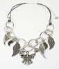 """#11917 <br>Pewter angel and wings on <br>silver plated chain and metallic silver leather. <br>Silver plated clasp and 4"""" extender chain. <br>19"""" to 23"""" Limited Edition $69.00"""