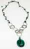 "#23116 <br>Azurite and amazonite drop on antiqued silver <br>plated chain, ocean green leather and pewter.<br> Silver plated clasp and 4"" extender chain. <br>31"" to 35"" Limited Edition $95.00"