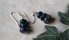 """Handcrafted lampwork glass beads, genuine Swarovski crystals, sterling silver. 1-3/4"""" long. (e3802d)"""