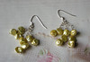 "Genuine freshwater pearl earrings, these are a bright yellowish chartreuse color. Sterling silver chain and earwires. 2"" long.<br /> (op3921earsb)"