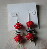 "Handcrafted lampwork glass beads, sterling silver beads and 5"" adjustable-length sterling silver threader earwires. <br /> <br /> What is cool about these earrings is that they can be so many different combinations. The beads are just stacked on the earwires, so you can just take them off and re-arrange them however you want. So you are really buying literally a couple dozen earrings here all in the price of one set.<br /> (e3898z) edit"