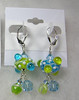 """Handcrafted lampwork glass beads, genuine Swarovski crystals, Czech faceted glass beads, sterling silver, leverback earwires. 2-1/8"""" long. (e3889)"""