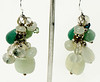 #ME2015<br>Jade, green aventurine, pearl and quartz<br>Grape cluster earrings. <br>$55.00