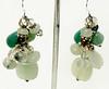 #ME2015<br>Jade, green aventurine, pearl and quartz<br>Grape cluster earrings. <br>$55.00