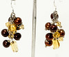 #ME2004<br>Citrine and chocolate pearl<br>Grape cluster earrings.<br>$55.00